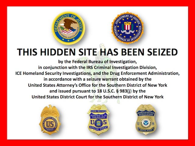 The federal seizure notice that appeared on Silk Road.