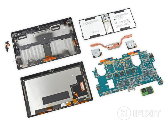 The disassembled Surface Pro 2.
