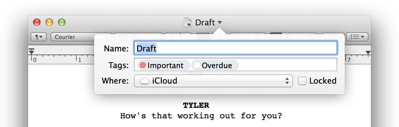 Move over, versions. Tags now get pride of place in the title bar pop-up menu.