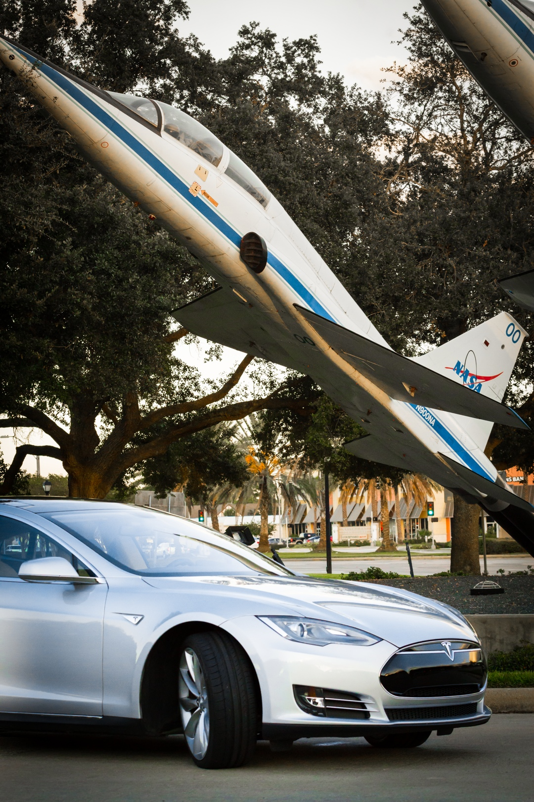 The Model S is quick, but not quite as quick as one of NASA's supersonic T-38s.