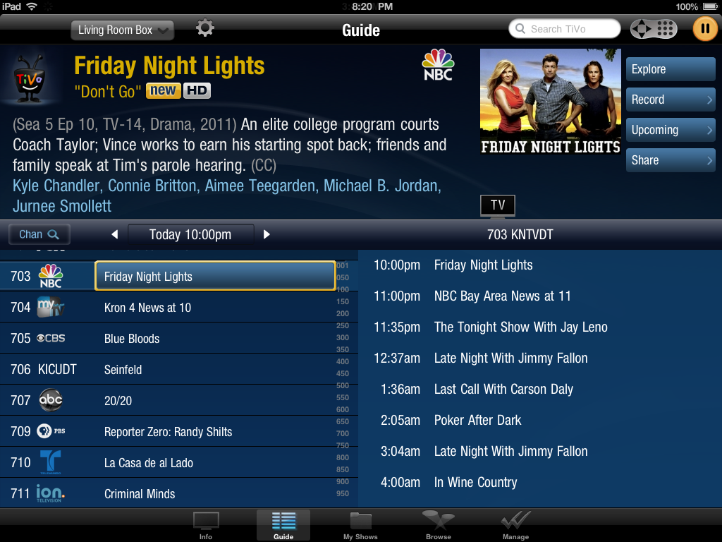 This slightly different grid guide belongs to the TiVo mobile app.