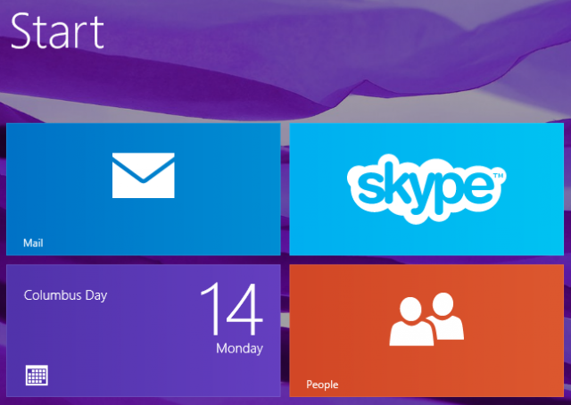 Mail, Skype, Calendar, and People power communications in Windows 8.1.