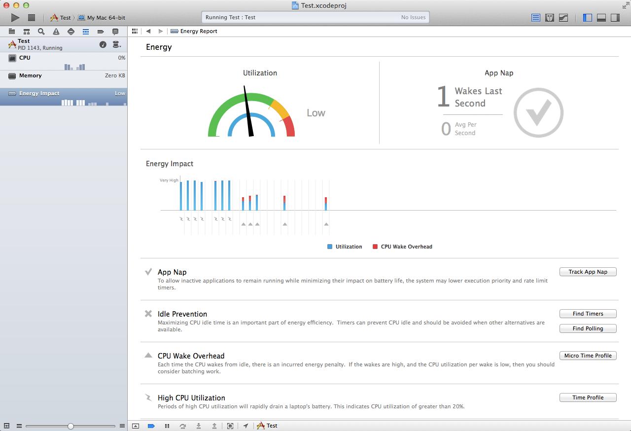 Xcode 5's energy impact tools.