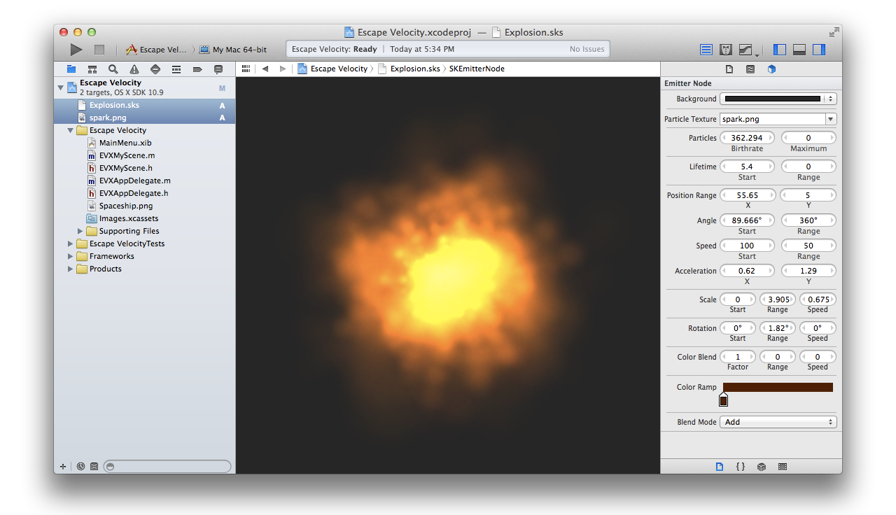 Sprite Kit particle emitters can be created and edited right in Xcode using this real-time visual interface.