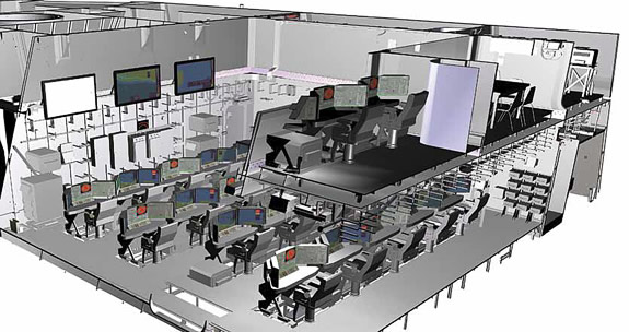 A digital illustration of how the Zumwalt's operations center will look, complete with its second-level suite for hosting operations for air detachments and other units deployed aboard.