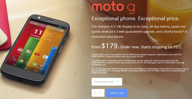 Get it sooner: $179 Moto G now ships December 2 in the US