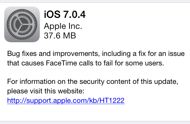 Apple releases iOS 7.0.4, fixes FaceTime problem and non-specific bugs