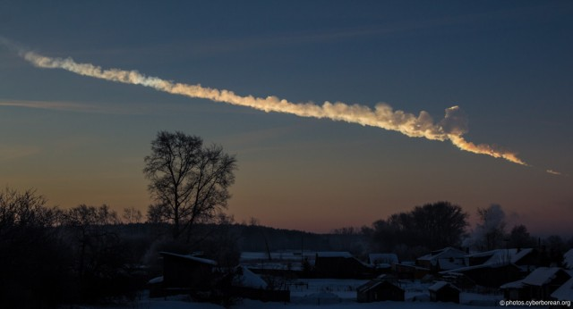 The trail of a meteor that caused some harm but mostly helped humanity understand meteorite strikes on Earth.