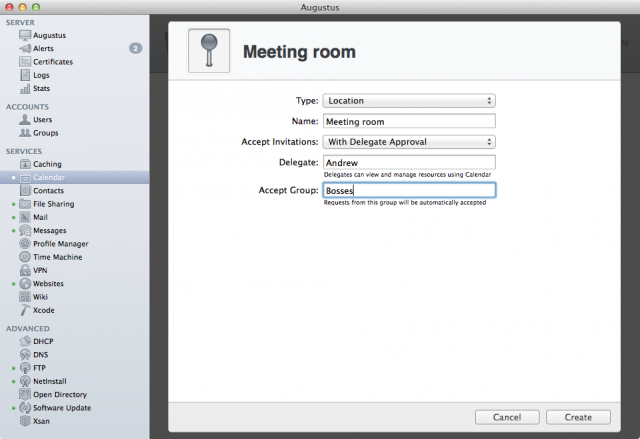 Assigning a delegate who can approve or reject all scheduling requests for my new meeting room. The ability to exclude some users from delegation is new to Mavericks.