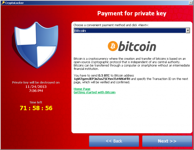 Soaring price of Bitcoin prompts CryptoLocker ransomware price break
