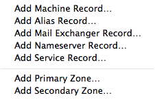 The different types of DNS records available.