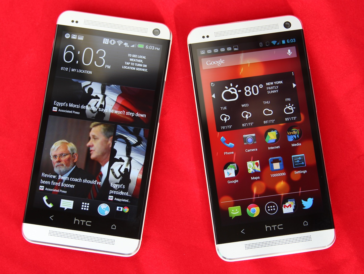 The regular version of the HTC One (left) next to the Google Play edition (right).