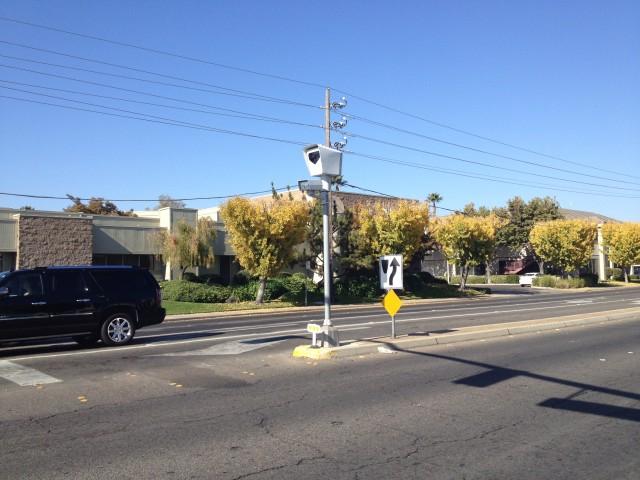 A Redflex camera as seen in Modesto, California.