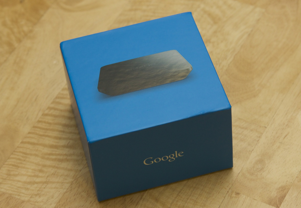 The square blue box that the charger ships in matches the packaging for the Nexus 7 and Nexus 5.