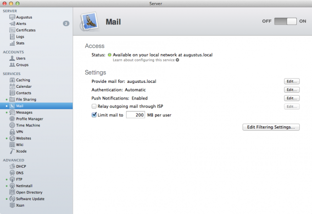 Lack of a Web client is probably the biggest functional gripe about the Mail service in OS X Server