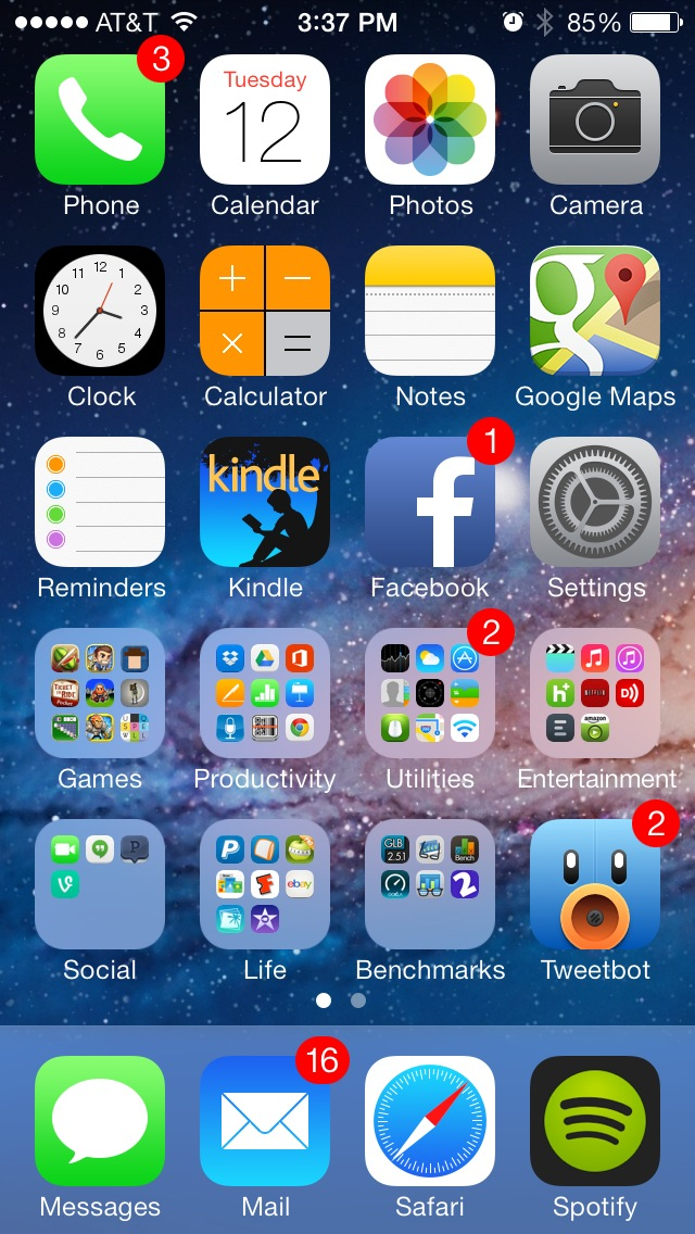 iOS 7.0.3 as seen on the iPhone 5S.