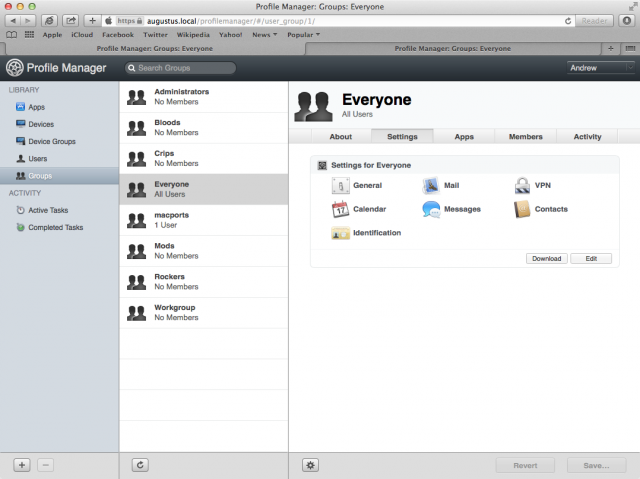 "Profile Manager profiles can be distributed to users, user groups, devices, and device groups. This is in addition to the generic ""Settings for Everyone"" profile shown here."
