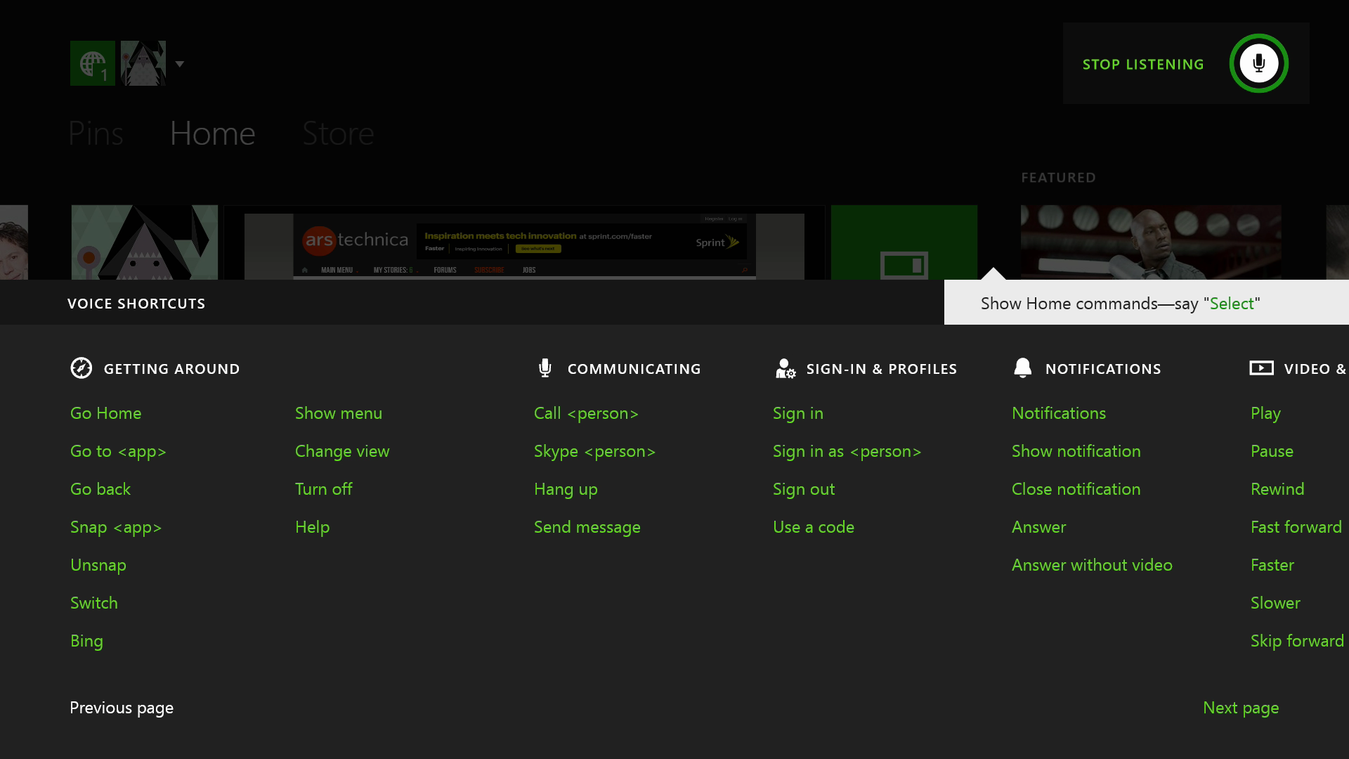 This list of voice commands spreads out over two screens, and it's not even complete.