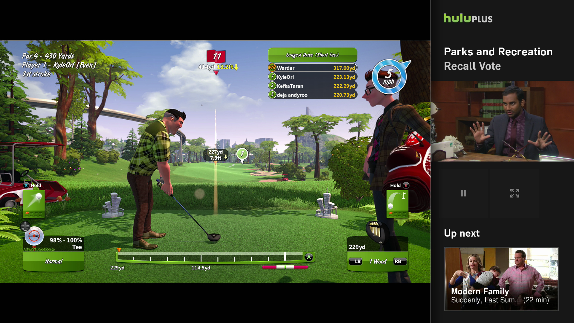 Nothing goes better with virtual golf than a show that's loosely about parks.