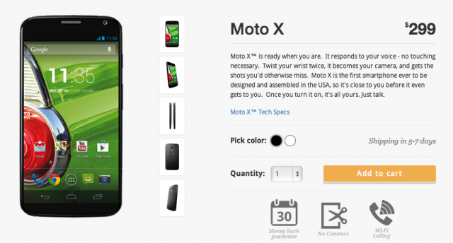 The cheapest Moto X is here: $300, no-contract, plans start at $5/mo