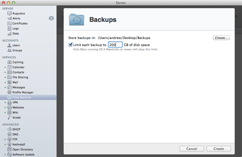Setting a disk quota for Time Machine backups.
