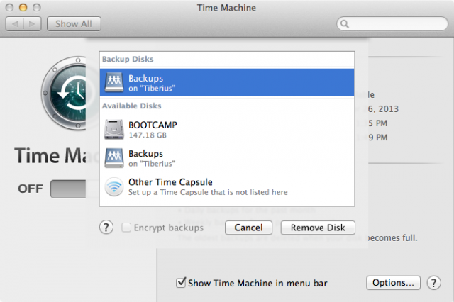 Adding an OS X Server share as a backup volume isn't much different from using an external drive.