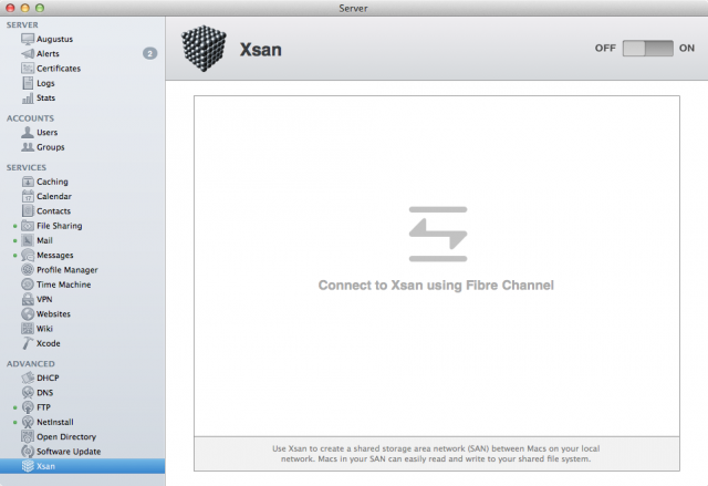 With an enterprise-level Fibre Channel network, I could take Xsan Admin for a spin.