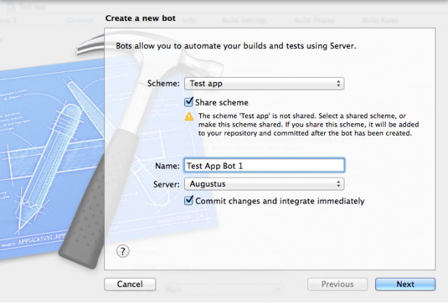 Creating a bot from within Xcode.