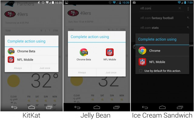 The app picker in the last three major versions of Android