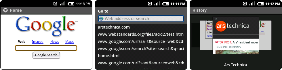 The browser's fake Google homepage, the address bar, and the history interface.