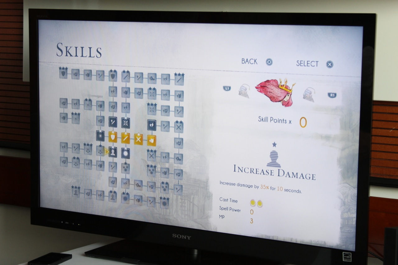Skill points are put into a grid. Powering up new squares on the grid dictates the skills that are available to you.