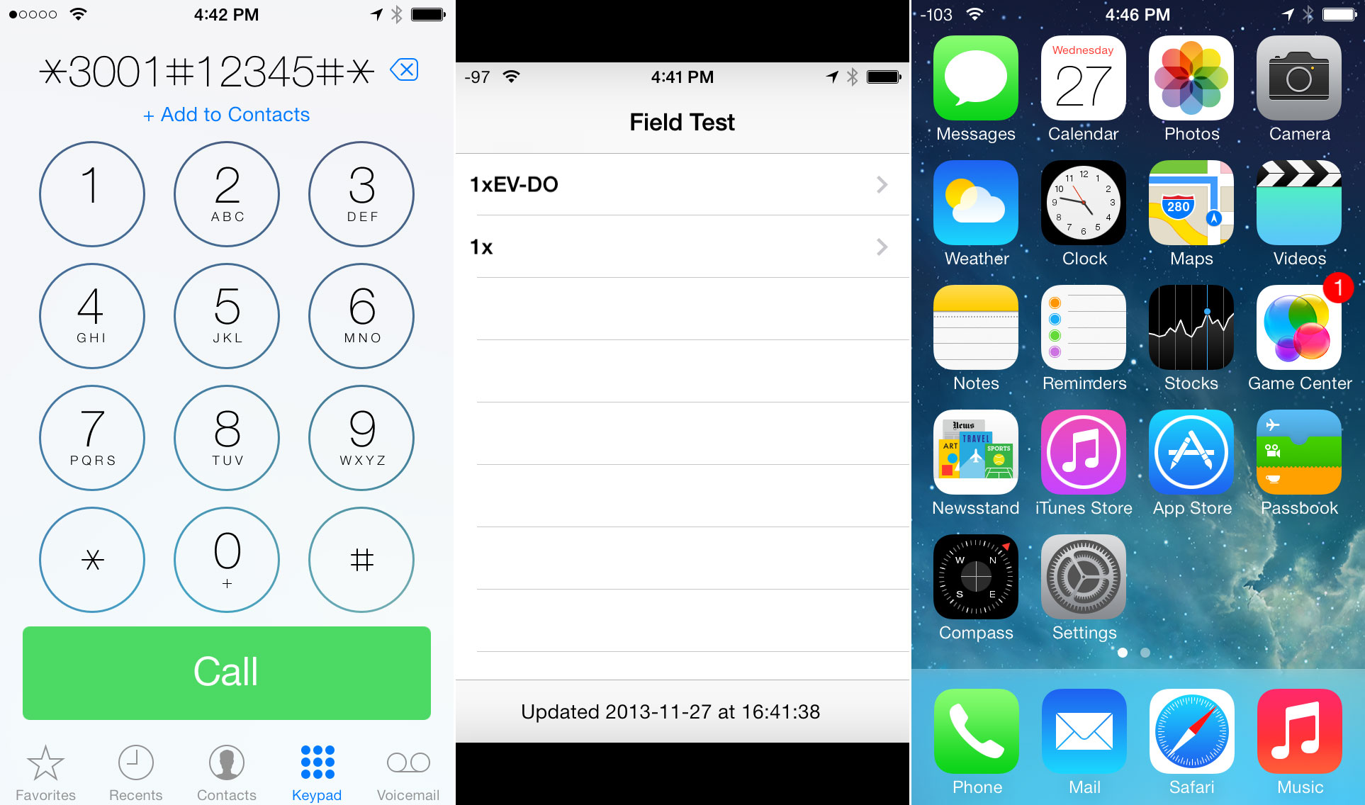 Right: The secret number for field test in iOS. Center: The Field Test app. Right: Permanent dBm in the status bar.