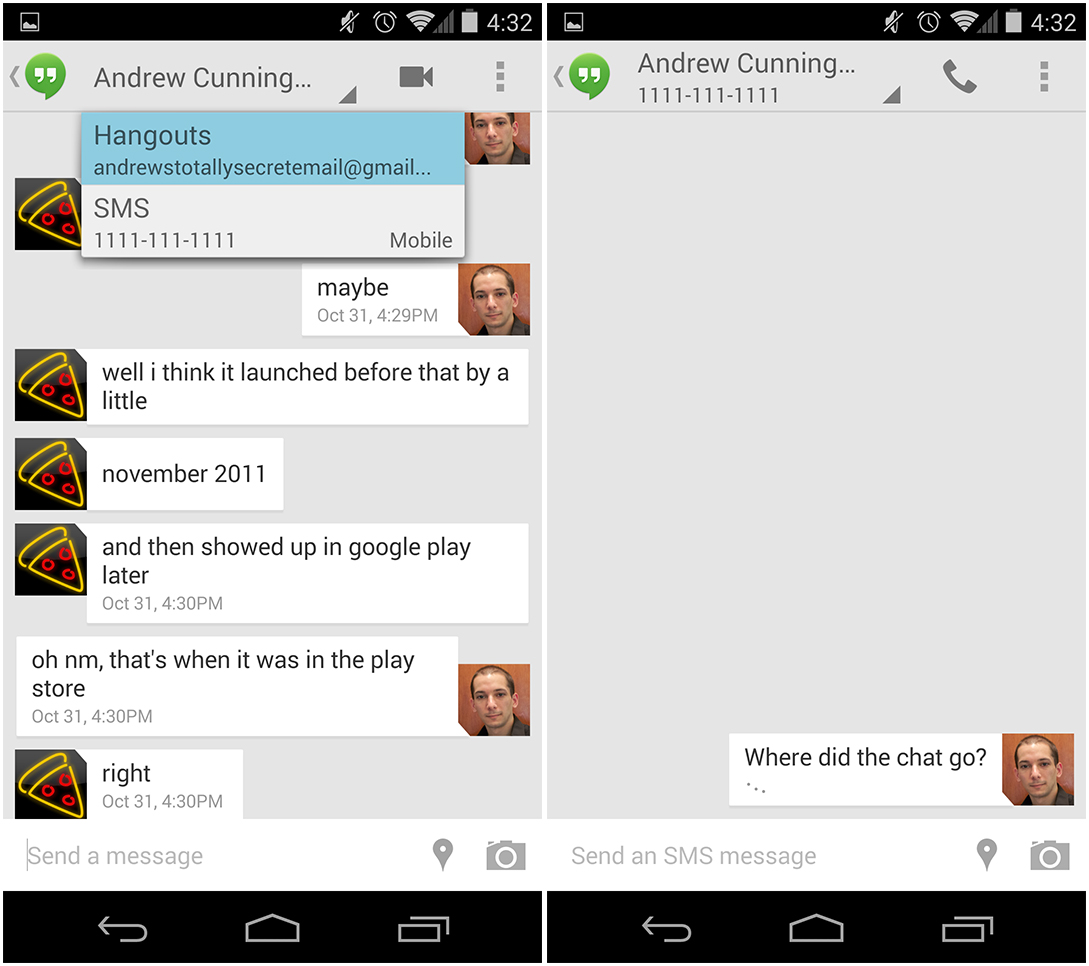 Android 44 kitkat thoroughly reviewed ars technica the messaging app is gone in kitkat replaced by google hangouts which is now the default way to send sms messages while hangouts chat and sms are now buycottarizona
