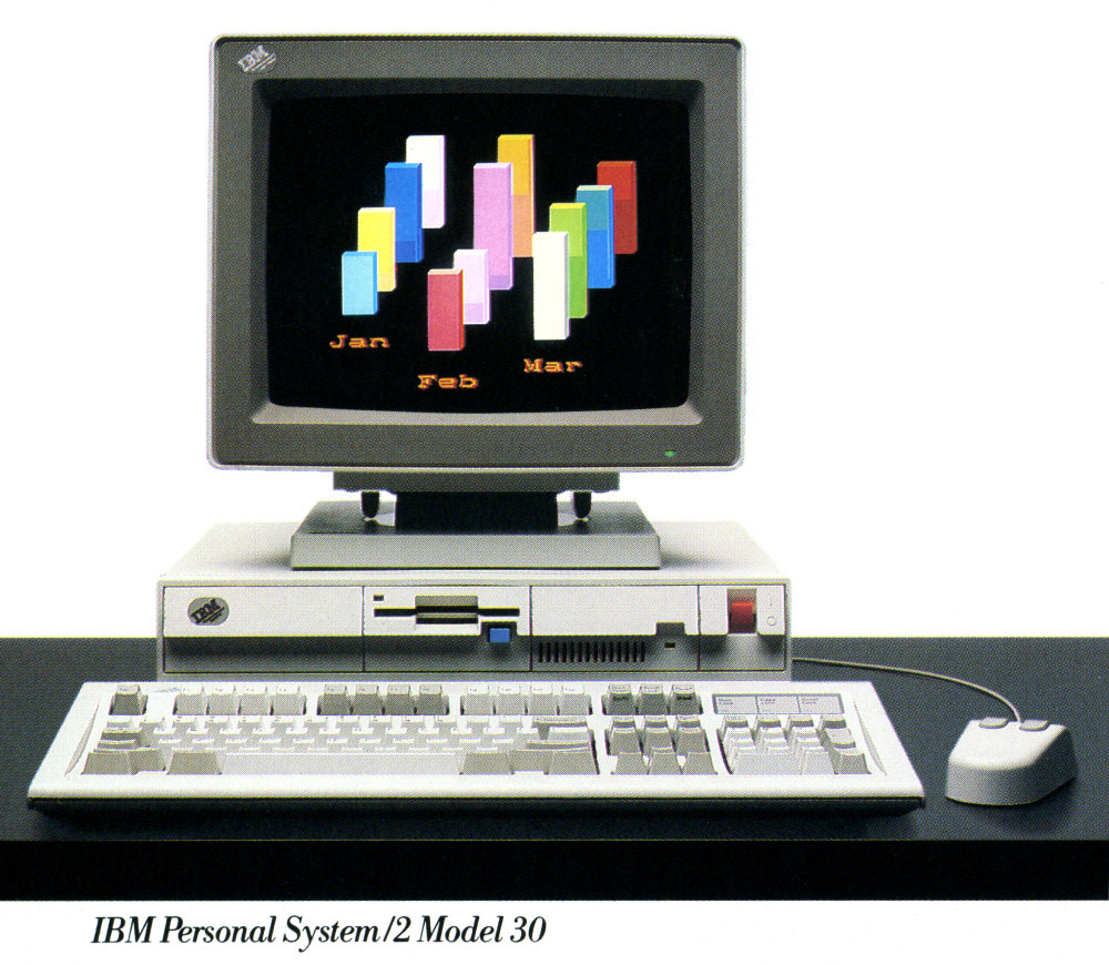The low-end PS/2s were the most crippled. No Micro Channel, slow CPU speeds, and 256 colors only in very low resolution (as you can see from the text).