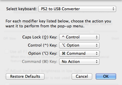 """Modifier keys"" in the Keyboard pane of the System Preferences."