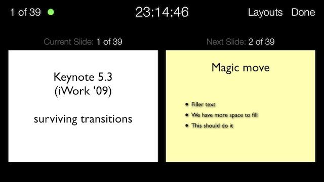 Keynote on the iPhone presenter screen.