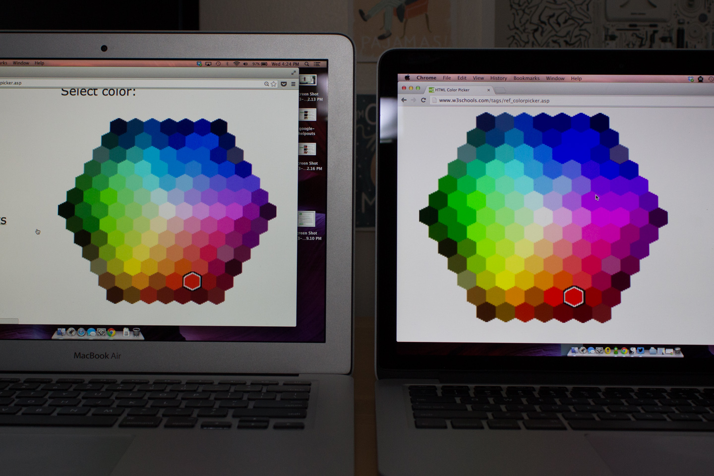 The screens of the two computers are similar in color quality, though the MacBook Air's is a little faded at higher brightness levels.