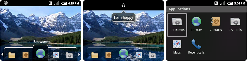 "From left to right: the home screen, an open notification, and the ""apps"" folder."