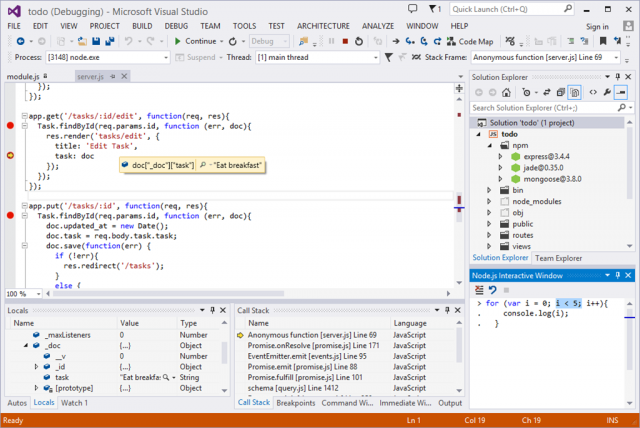 Node.js Tools for Visual Studio in action.