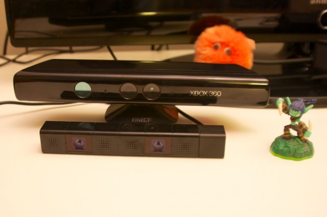 The PlayStation Camera, with the Kinect shown for size comparison. Also a Skylanders figure, because why not?