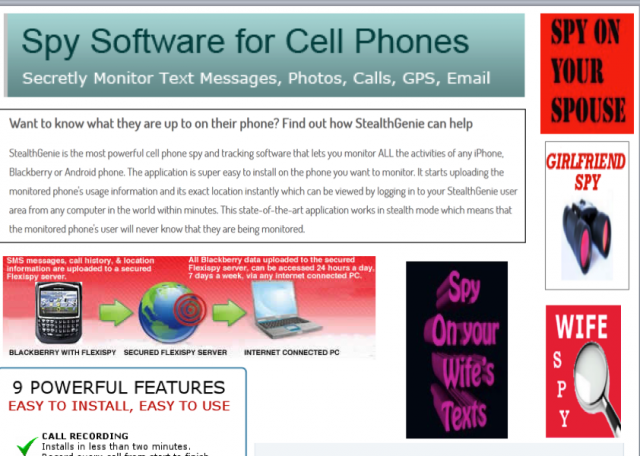 Ads for software packages marketed specifically for stalking a partner.