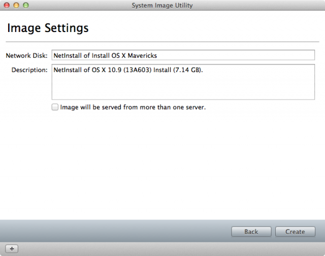 Creating a network-bootable image of the Mavericks installer.