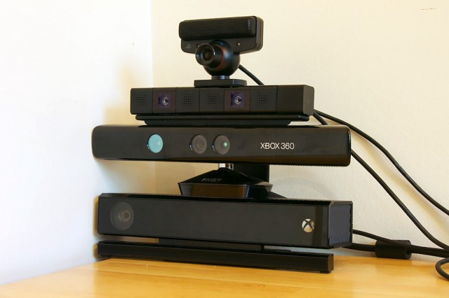 Always watching. Top to bottom: PlayStation Eye (PS3), Playstation Camera (PS4), Xbox 360 Kinect, Xbox One Kinect.