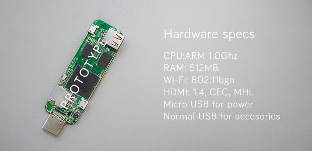 The Airtame prototype hardware features a 1GHz ARM CPU and 512MB of RAM, though the final specifications are still evolving.