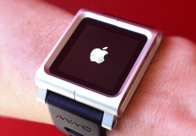 A sixth-generation iPod Nano, embedded in a watch band.