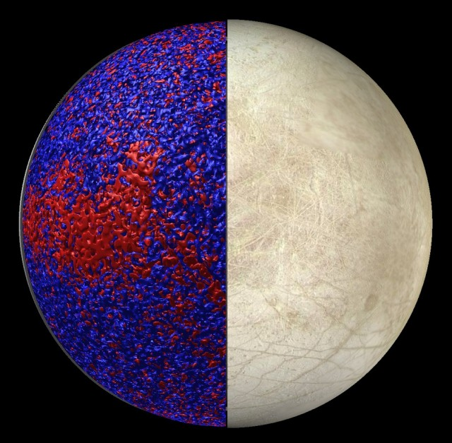 A snapshot from the model on the left, showing warmer and cooler water. Image of Europa's surface on the right.
