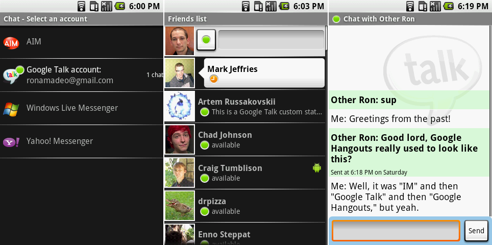 "The ""IM"" applications. Screenshots show the short-lived provider selection screen, the friends list, and a chat."