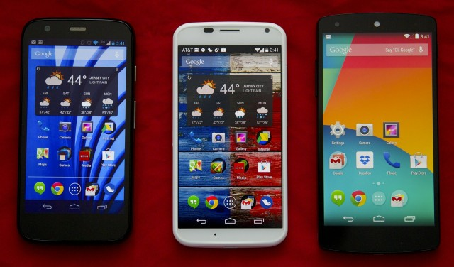 The Moto G, Moto X, and Nexus 5. The Moto G's display is surprisingly nice for the price.