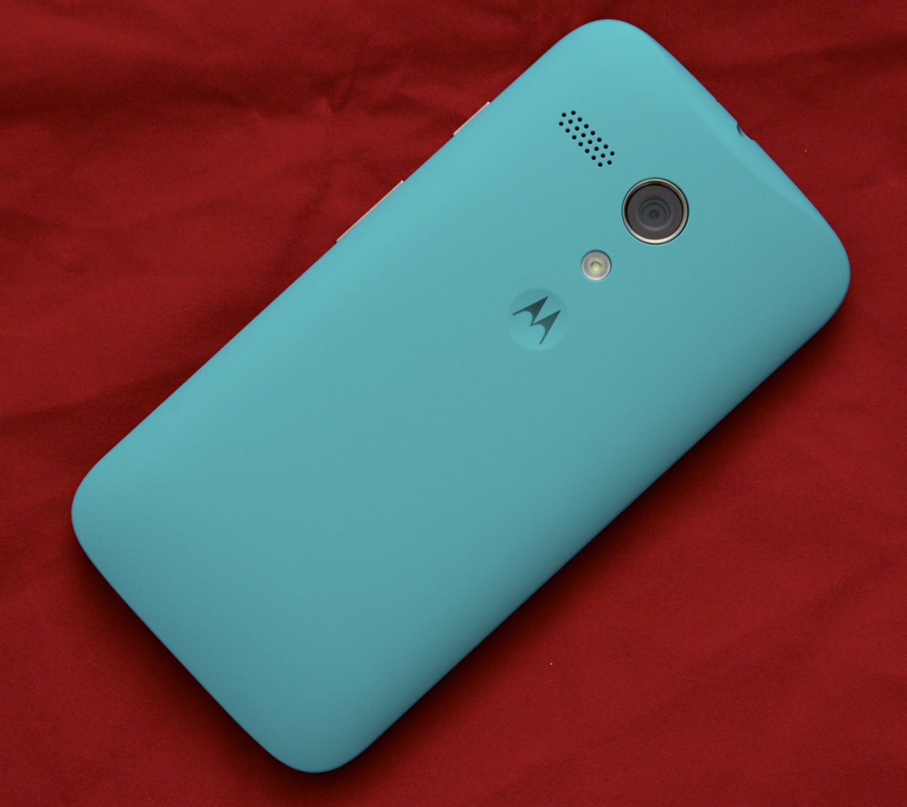 The Moto G has a curved plastic back that feels nice in the hand.