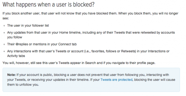 A screengrab of the (now-reverting) new Block behavior.